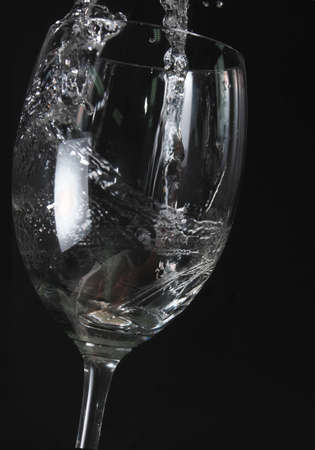 water in vine glass