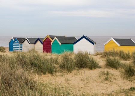 Colorful beach huts at Southwold, Suffolk, England photo