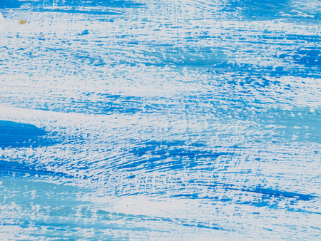 reminiscent: Blue painted abstract, with white streaks, reminiscent of seas or skies.