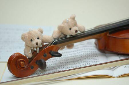 violin with bear  photo
