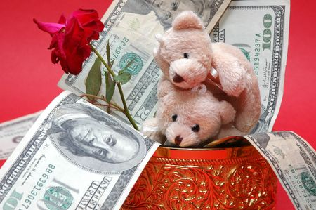 bear with gold box and flower Stock Photo - 2416842