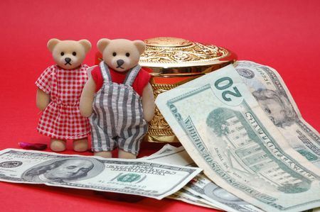 treasurer: bear with dollar note and gold box