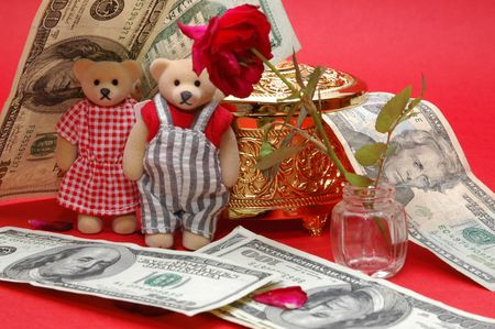 treasurer: bear with dollar note and gold box and flower Stock Photo