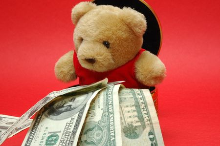 treasurer: bear with note Stock Photo