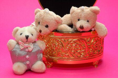 couple bear inside a gold box photo