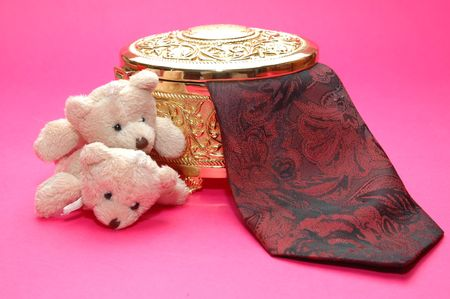 tie with gold box and bear  photo