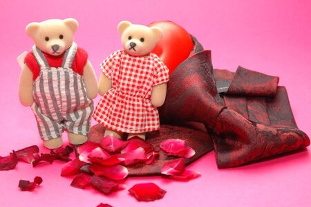 Bear photo with a red tie, good for valentine days and wall paper photo