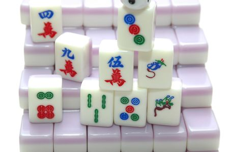 chinese mahjong game with dice photo