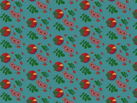 apple slices on a blue background 向量圖像