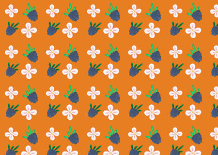 Blackberry and flowers on an orange background.