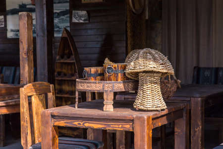 chear: wicker baskets and wooden kegs on the wooden table