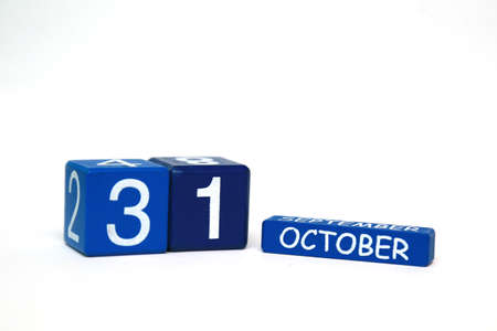 31: blue plastic cubes with the date Oct. 31 isolated