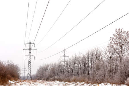 power lines: Supports high-voltage power lines in winter