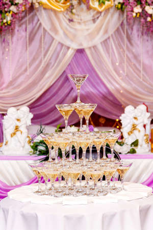 banket: Pyramid of glasses with champagne in purple wedding interior.