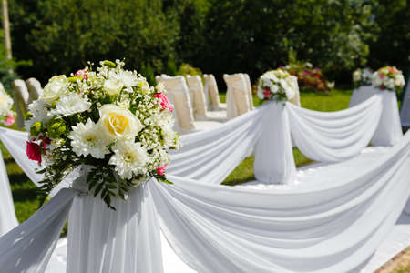 Wedding ceremony decorations. Floral bouquet close up Stock Photo