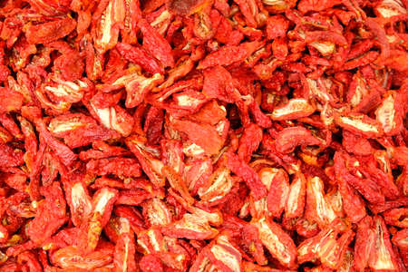 Dried Red Ripe Tomatoes Close-up For Sale At Vegetable Market 写真素材 - 130717777
