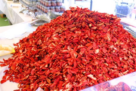 Dried Red Ripe Tomatoes Close-up For Sale At Vegetable Market 写真素材