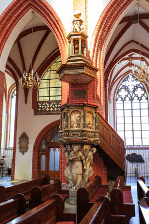 WROCLAW, POLAND - MAY, 2018.  Interior of a medieval catholic cathedral.