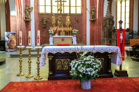 WROCLAW, POLAND - MAY, 2018. Altar in Interior of a medieval catholic cathedral, No People. Editorial