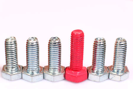Close-up of pink bolt in a group of galvanized metallic screws.