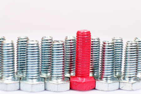 Closeup of pink bolt in a group of galvanized metallic screws.
