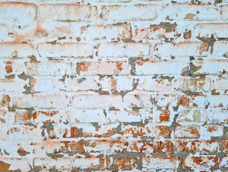 Texture of old aged white painted brick wall background.