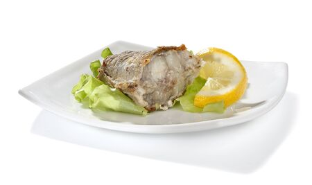 Fried piece of cod with lettuce and lemon on the plate Stock Photo - 14058752