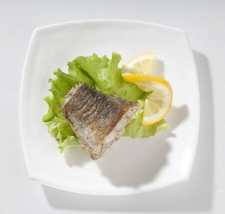 Fried piece of cod with lettuce and lemon on the plate Stock Photo - 14060543