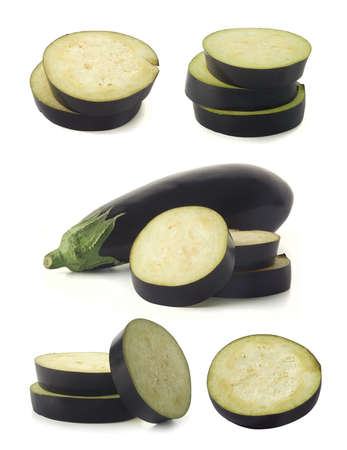 Some isolated images of cuted eggplant on the white background Stock Photo - 14060590