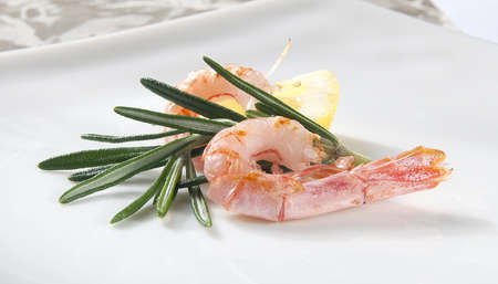 coldwater: Two coldwater shrimp with lemon and rosemary