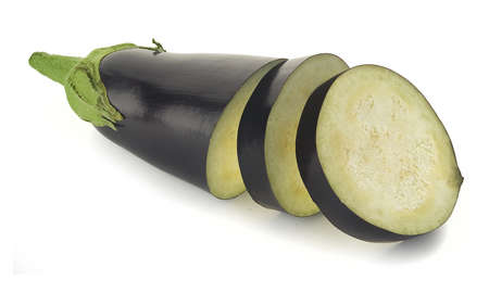 Cutted fresh eggplant on the white background Stock Photo - 14079862