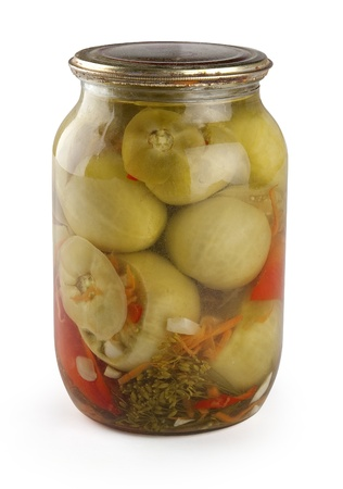 conserved: Conserved green tomato in glass jar