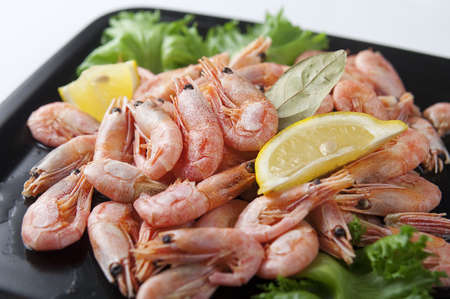 coldwater: Coldwater shrimps with lettuce and lemon on the black plate