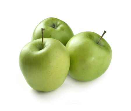 Three fresh green apples on the white background