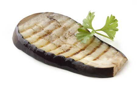 One piece of fried eggplant with parsley Stock Photo - 14483224
