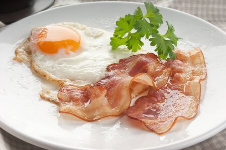 Fried egg with two pieces of bacon and parsley on the white plate Stock Photo - 16208326