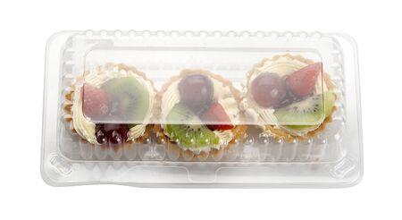 Three tarts in the transparent plastic box