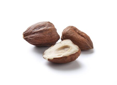 whote: Whote and half of hazelnut Stock Photo