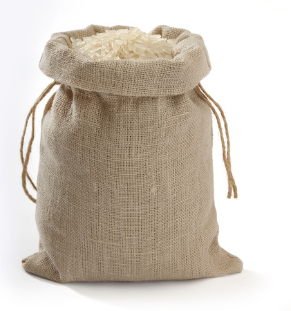 Sack with rice on the white background