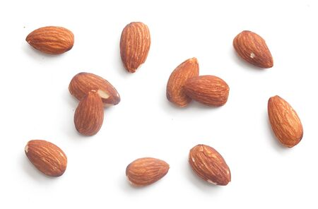 Set of isolated almond on the white background