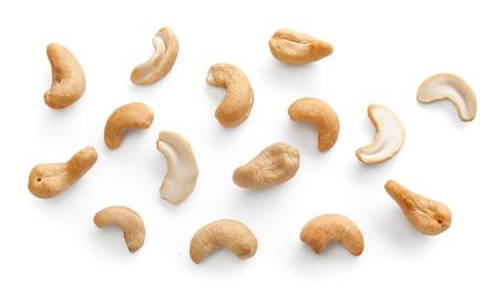 Set of isolated cashew on the white background Stock Photo