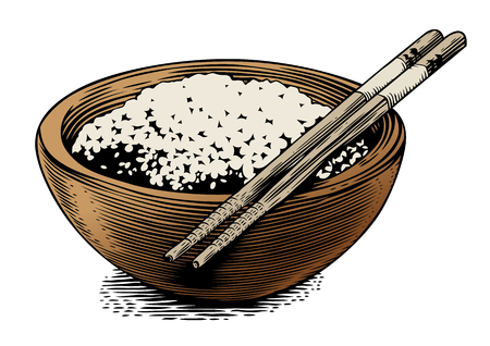 produce product: Drawing of wooden bowl with rice and chopstick Illustration