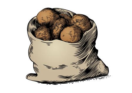 ジャガイモの袋の白い背景の上に描画