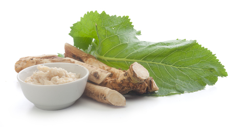 horseradish: Roots of horseradish with grated horseradish in bowl and green leaf