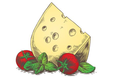 gravure: Drawing of the piece of cheese with tomato and basil