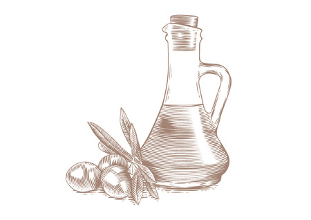 cruet: Drawing of olives with leaves and bottle with oil