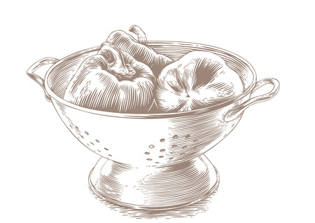 Drawing of three red whole peppers in the white colander