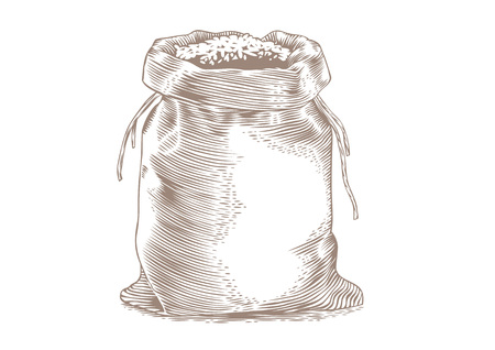 gravure: Drawing of the sack with the rice on the white