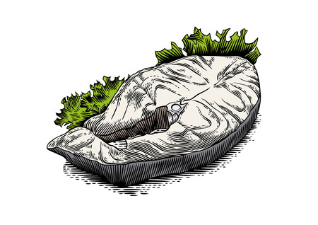 gravure: Drawing of fried steak of cod with green lettuce Illustration