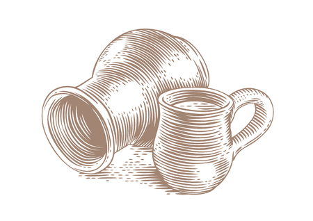 crock: Drawing of a clay stein and clay crock with milk on the white Illustration